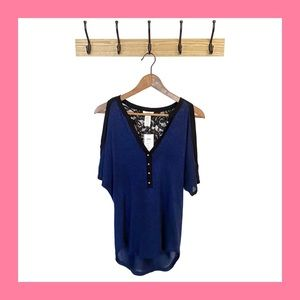 CACHE Navy Metallic Cold Shoulder Lace Top S NWT